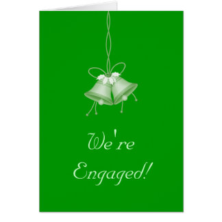 We re Engaged - Green Bells w Holly Greeting Card