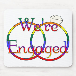 We re Engaged Rainbow Mouse Pad