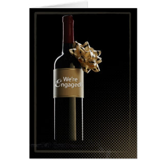 We re Engaged Wine Bottle Greeting Cards