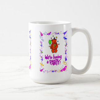 """We""""re having a party, bear with a balloon basic white mug"""