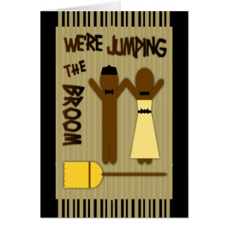 We re Jumping The Broom With Border And Stripes Greeting Cards