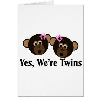 We re Twins 2 Girls Monkeys Card