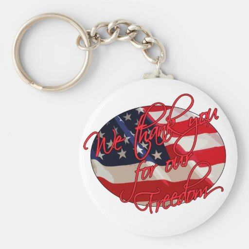 We thank you basic round button key ring