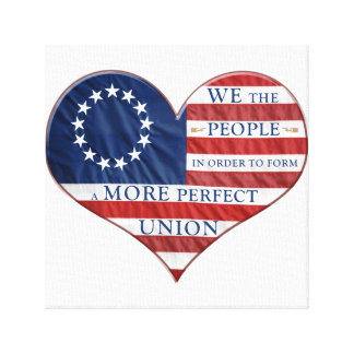 We The People American Flag Heart Canvas Print