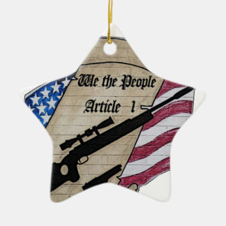 ( We The People ) Article 1 2nd Amendment Guns and Ceramic Star Decoration