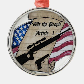 ( We The People ) Article 1 2nd Amendment Guns and Silver-Colored Round Decoration