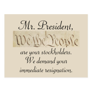 We the People Demand Trump's Resignation Postcard