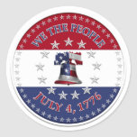 We The People July 4 1776 Bell with 13 & 50 Stars Stickers