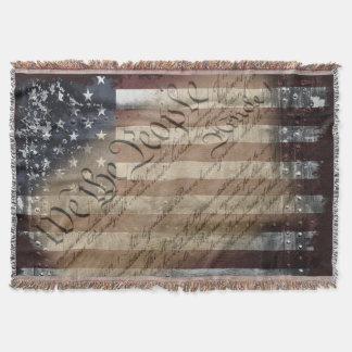 We The People Vintage American Flag Throw Blanket