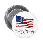 'We The People' w/Flag Pinback Button