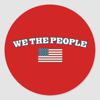 We The People with American Flag Round Stickers
