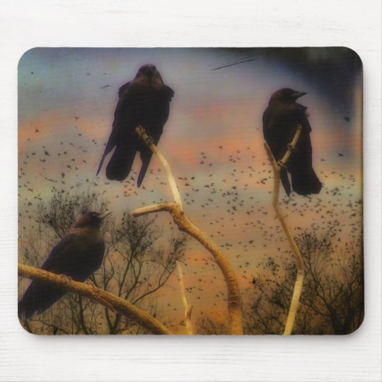 We Three Crows Mouse Mat