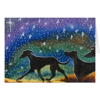 We three greyhound dogs greeting card