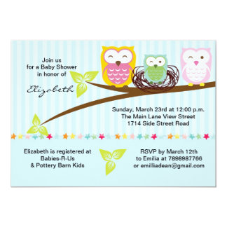 We three owl family baby shower invitation