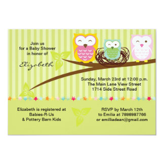 We three owl family neutral baby shower invitation