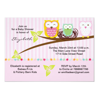 We three owl family pink baby shower invitation