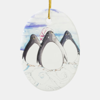 We three Penguins Christmas Ornament