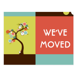 we ve moved announcement retro tree post cards