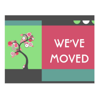we ve moved announcement retro tree postcards