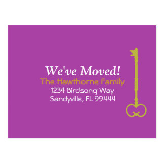 We ve Moved Fuscia Gold Postcard