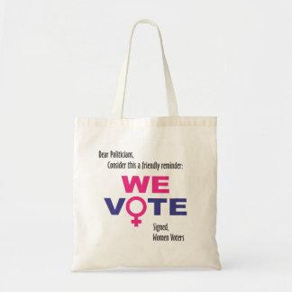 We Vote! Women's rights Tote