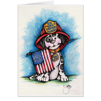 We Will Never Forget 9/11 Firefighter Dalmatian Greeting Card