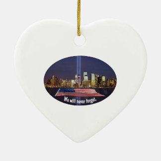 We Will Never Forget 9-11 Tribute Ceramic Heart Decoration