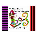 We Wish You A Creative Christmas Mermaid Postcard