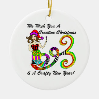 We Wish You A Creative Christmas Mermaid Round Ceramic Decoration