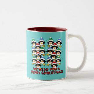 WE WISH YOU A MERRY CHRISTMAS PENGUINS COFFEE MUGS
