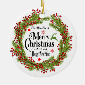We Wish You A Merry Christmas Round Ornament