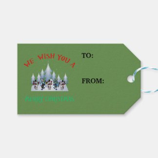 We wish you a Merry Christmas snowman gift tag