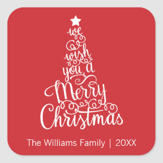 We Wish You a Merry Christmas Square Sticker, Red Square Sticker
