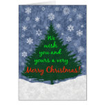 We Wish You a Merry Christmas Tree and Snowflakes Note Card