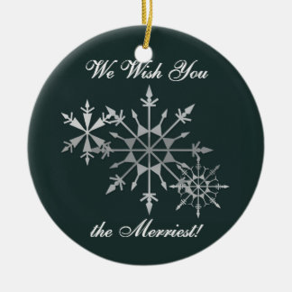 We Wish You the Merriest Round Ceramic Decoration