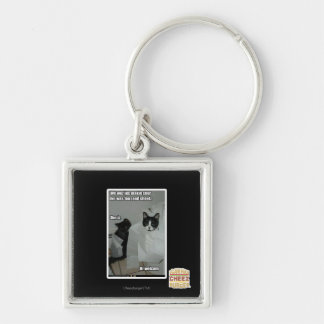 We wuz jus makin sur Silver-Colored square key ring