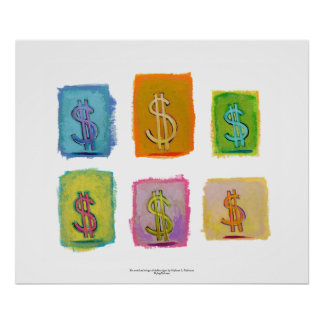 Wealth abundance economics money fun happy art poster