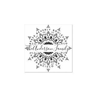 Wealth & Crowns Mandala Return Address Rubber Stamp