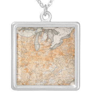Wealth Distribution, Statistical US Lithograph Silver Plated Necklace