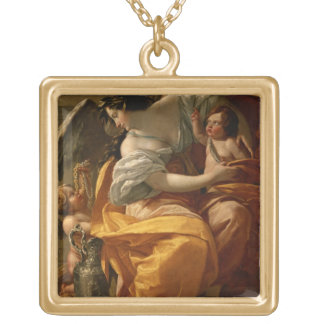 Wealth (oil on canvas) personalized necklace