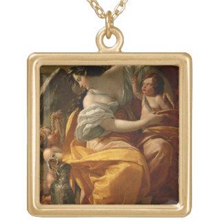 Wealth (oil on canvas) square pendant necklace