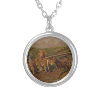 Weaning the Calves by Rosa Bonheur Round Pendant Necklace