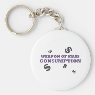 Weapon of mass consumption basic round button key ring