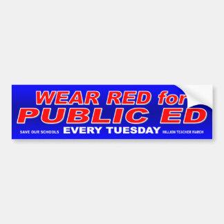 """""""Wear Red for Public Ed"""" Bumper sticker (blue)"""