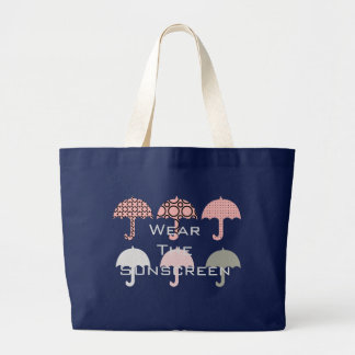 Wear the Sunscreen Beach Vacation Pink Blue Large Tote Bag