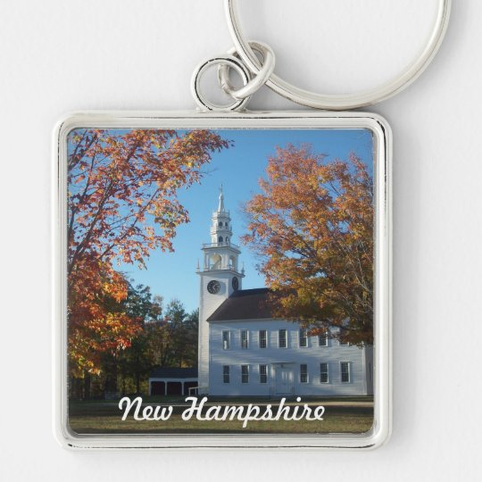 Wearin' New Hampshire Silver-Colored Square Key Ring