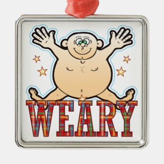 Weary Fat Man Silver-Colored Square Decoration