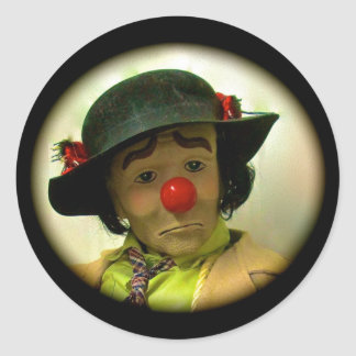 Weary Willie Sad Face Clown Large Round Sticker