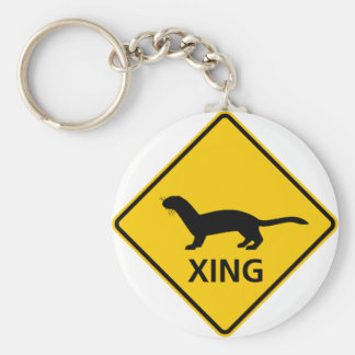 Weasel / Ferret Crossing Highway Sign Basic Round Button Key Ring