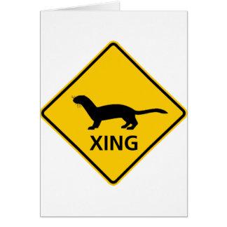Weasel / Ferret Crossing Highway Sign Card
